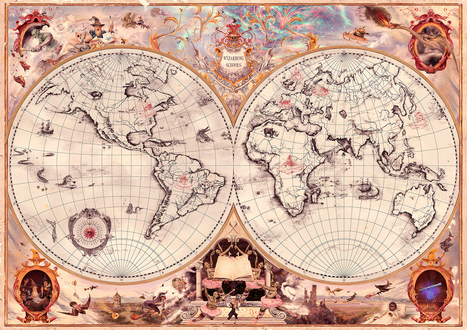 A map of J.K. Rowling's Wizarding World