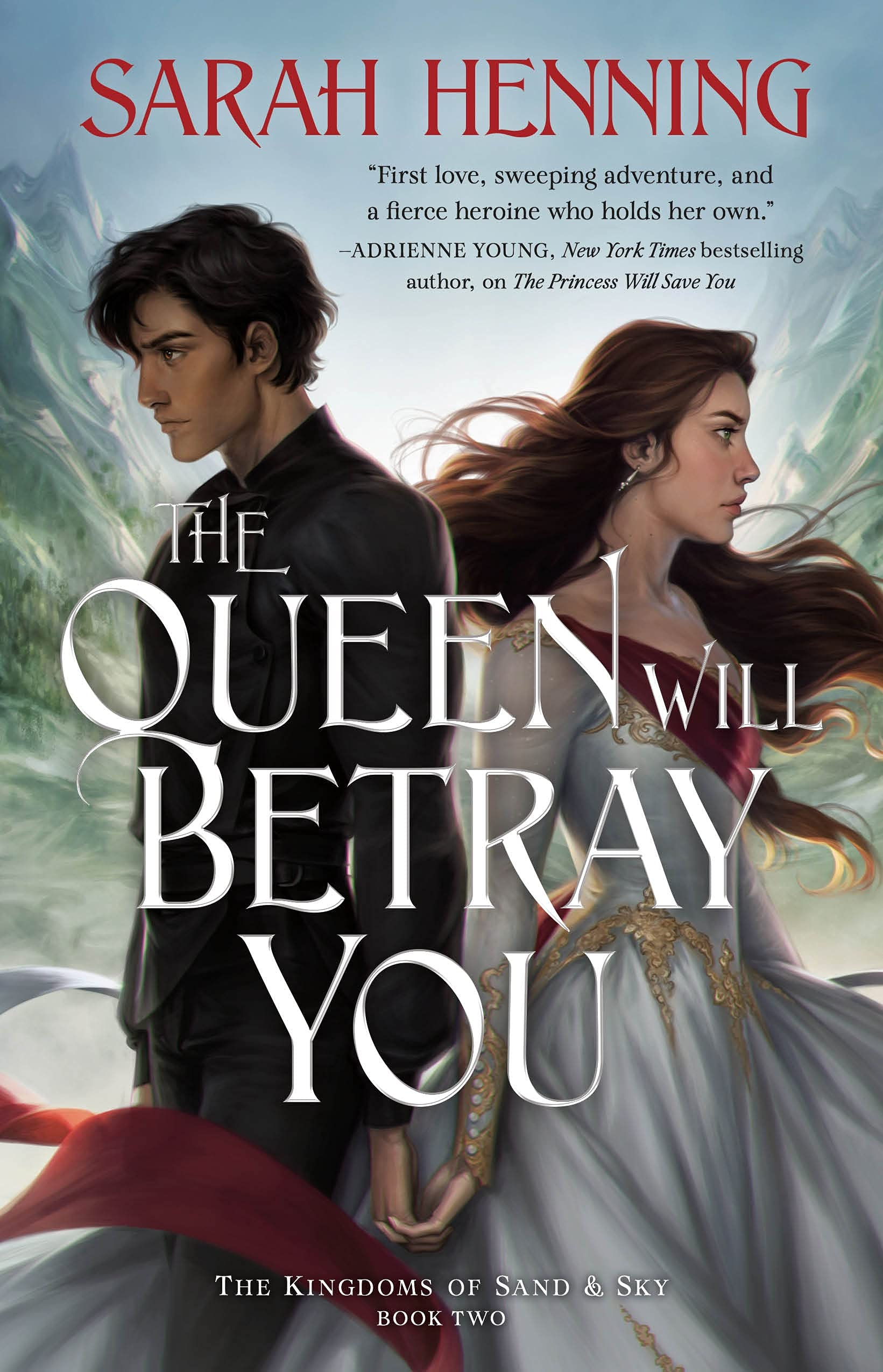 cover for sarah henning's 'the queen will betray you'. It protrays amarande in a white dress facing right and luca in a dark suit facing left. Their backs are to each other, they look away from each other but their hands are linked.
